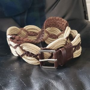 Talbots Brown Woven Leather Belt